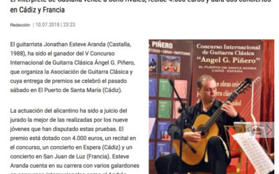Esteve Aranda gana el premio de guitarra Angel G. Piñero