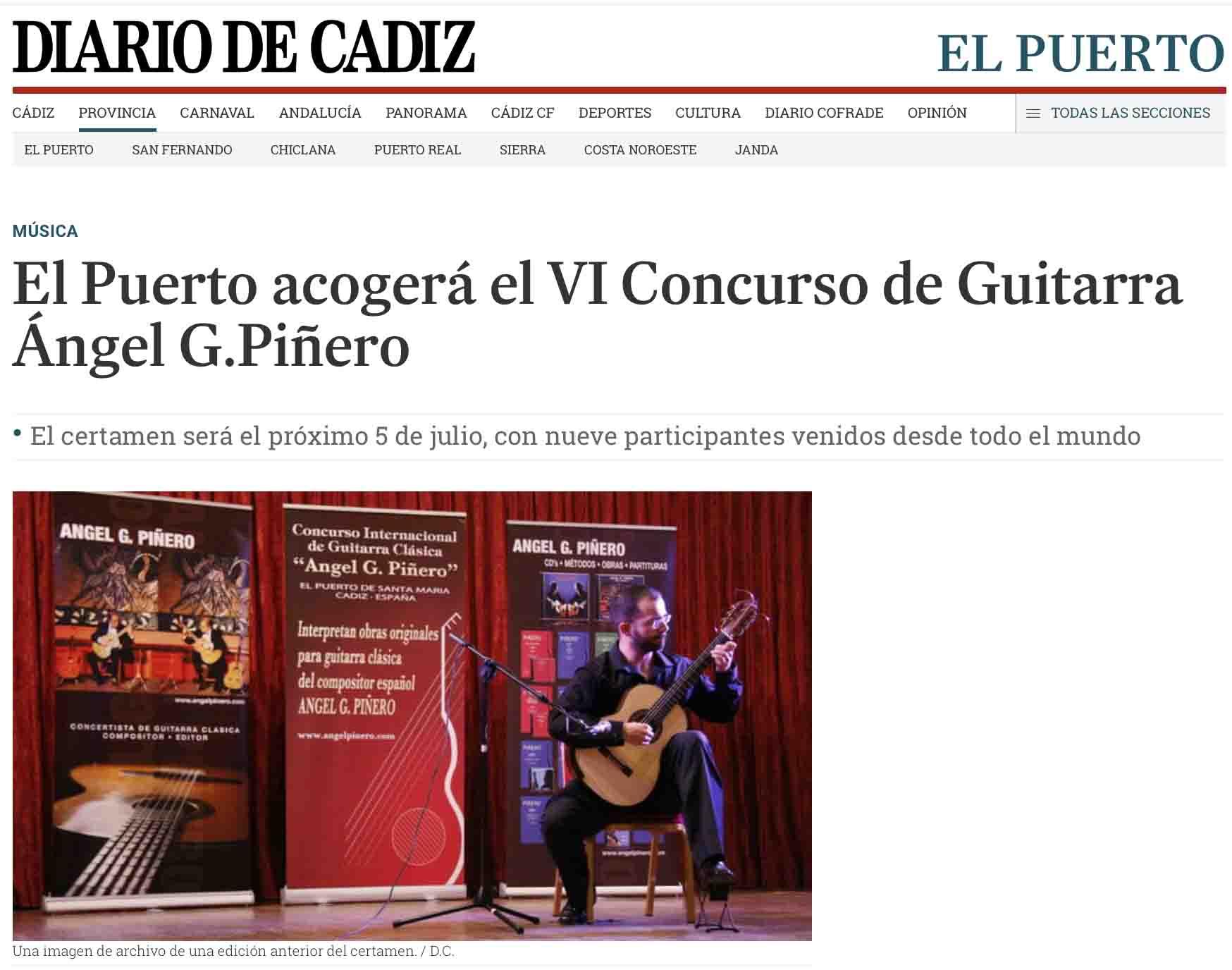 VI Concurso de Guitarra Ángel G.Piñero en Diario de Cádiz