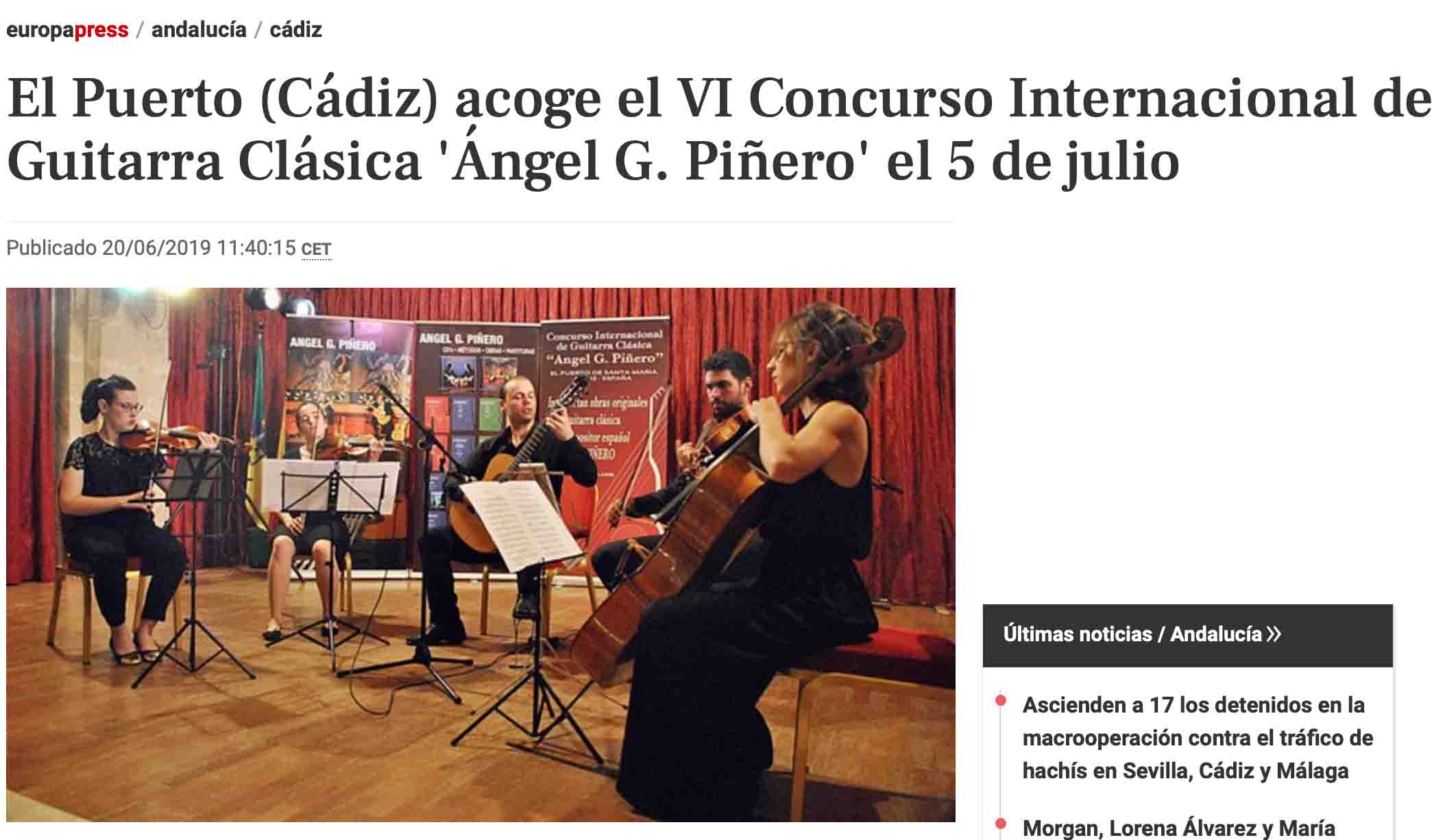 VI Concurso Internacional de Guitarra Clásica 'Ángel G. Piñero' en Europa Press