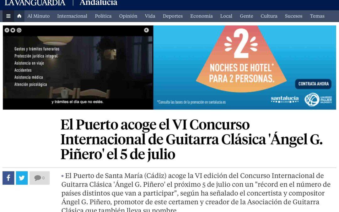 """El VI Concurso Internacional de Guitarra Clásica """"Ángel G. Piñero"""" en La Vanguardia"""
