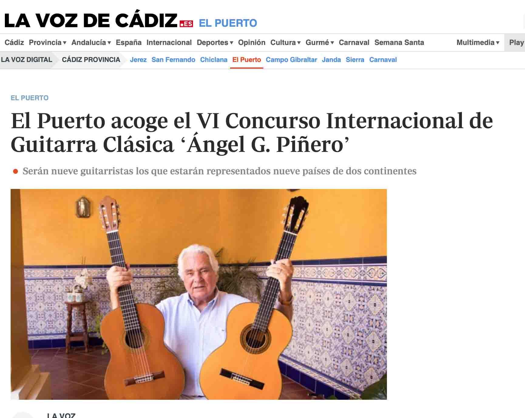 El Puerto acoge el VI Concurso Internacional de Guitarra Clásica 'Ángel G. Piñero' en La Voz de Cádiz