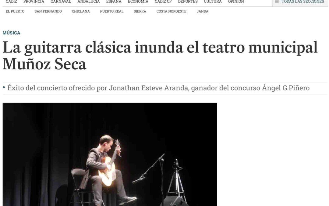 Éxito del concierto ofrecido por Jonathan Esteve Aranda, ganador del concurso Ángel G.Piñero