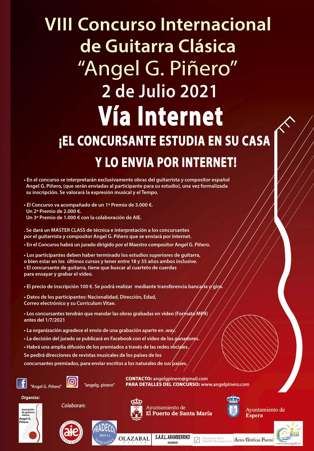Cartel Concurso Internacional de Guitarra Clásica Angel G. Piñero 2021