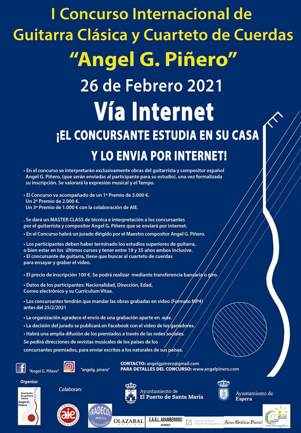Cartel Concurso Internacional de Guitarra Clásica y Cuarteto de Cuerdas Angel G. Piñero 2021
